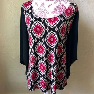 Susan Lawrence Blouse with Sheer Sleeves L Black
